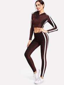 Contrast Stripe Crop Hoodie And Pants