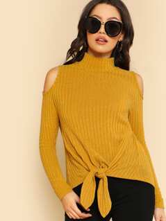 Mock Neck Open Shoulder Knot Front Tee