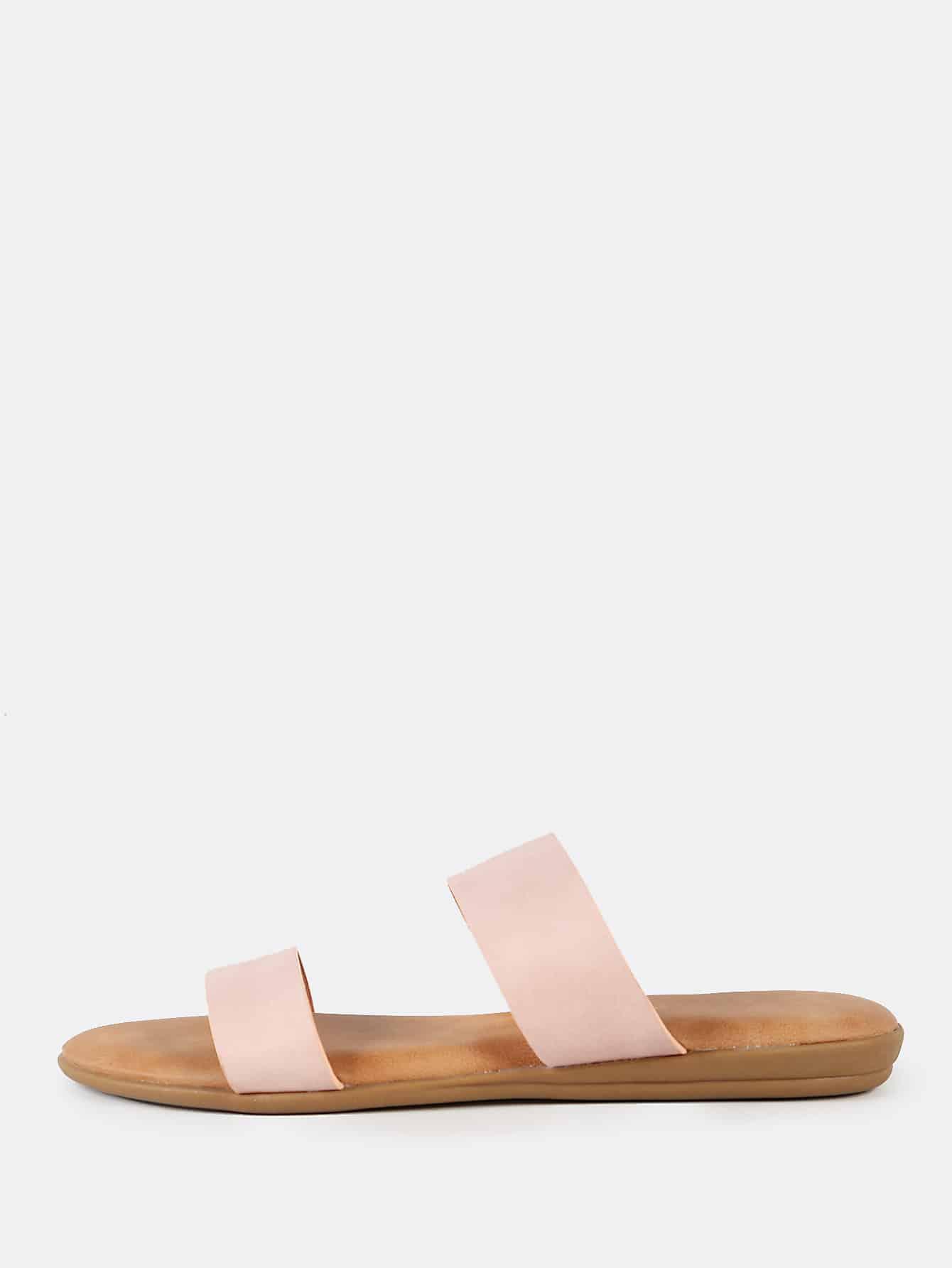 Double Strap Slip On Sandals BLUSH