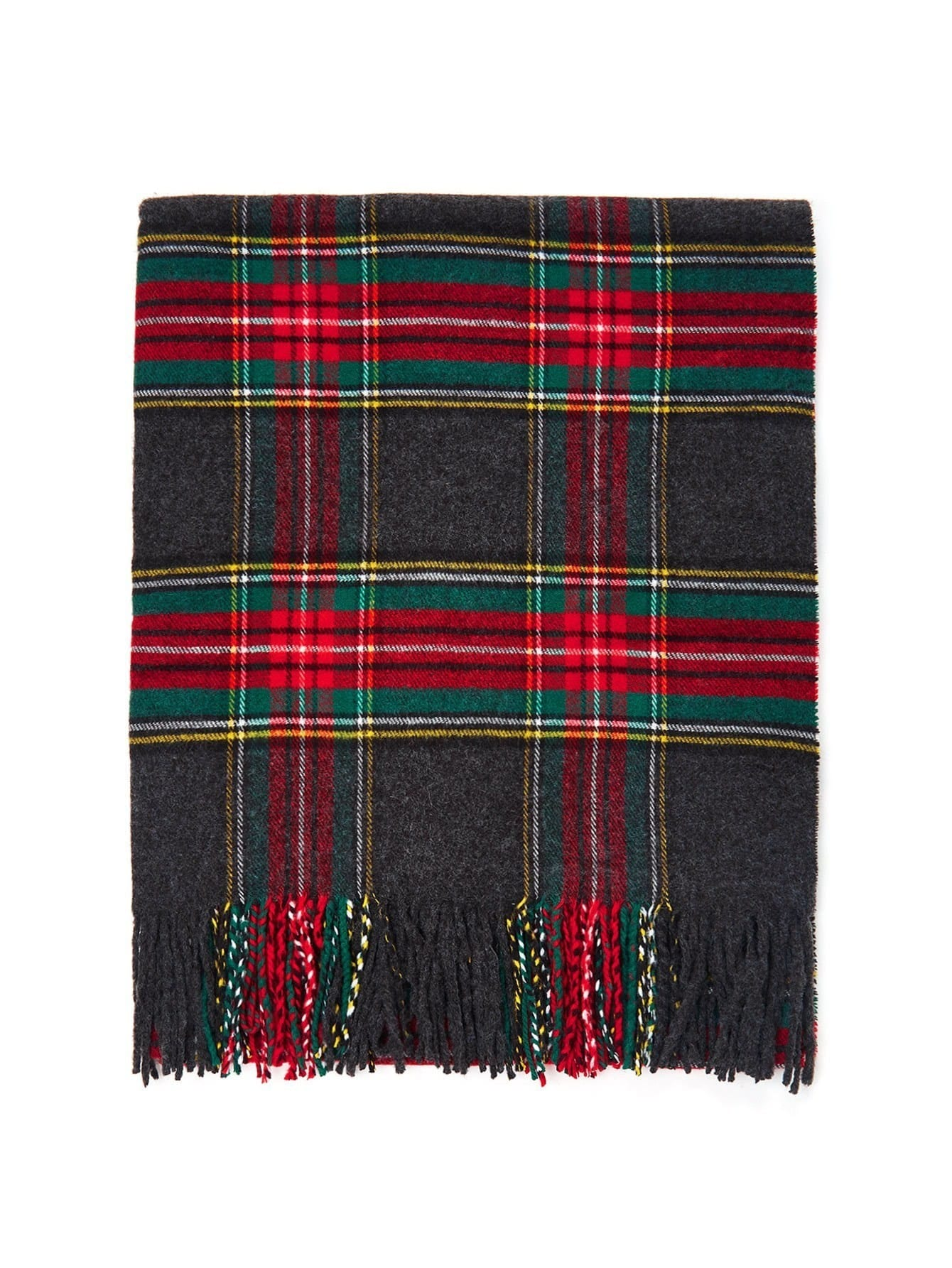 fringe trim plaid scarf emmacloth women fast fashion online. Black Bedroom Furniture Sets. Home Design Ideas