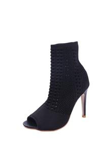 Peep Toe Knit Design Stiletto Heels