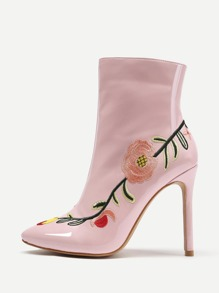 Flowers Embroidery Stiletto Ankle Boots