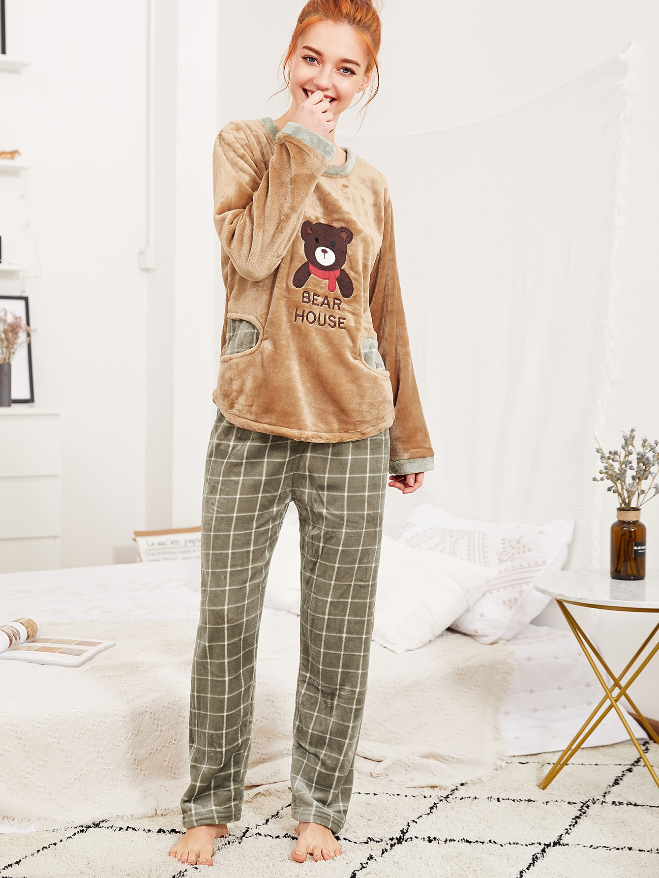 Contrast Trim Embroidered Plush Pullover & Pants Pj Set contrast embroidered two tone plush top