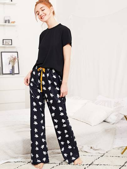 Solid Tee And Cartoon Print Pants PJ Set