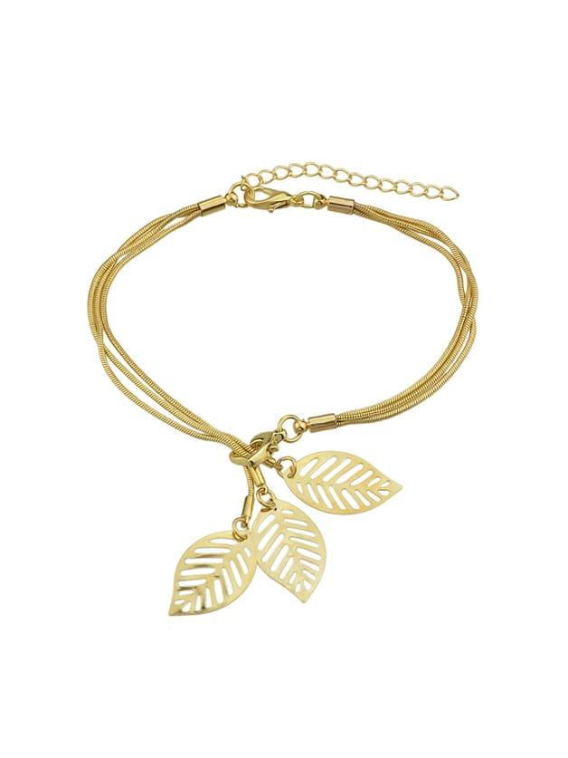 Gold Multi Layers Chain With Leaf Shape Charm Bracelets silver multi layers chain with leaf shape charm bracelets