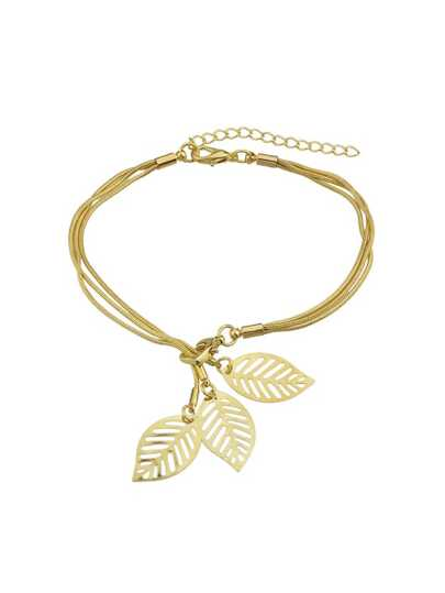 Gold Multi Layers Chain With Leaf Shape Charm Bracelets