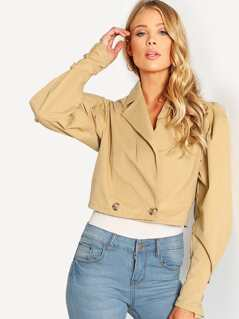 Gigot Sleeve Crop Trench Coat