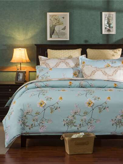 1.5m 4Pcs Flower Print Duvet Cover Set