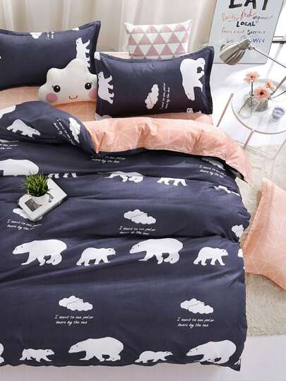 1.5m 4Pcs Bear Print Duvet Cover Set