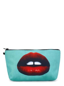 Contrast Lips Print Makeup Bag