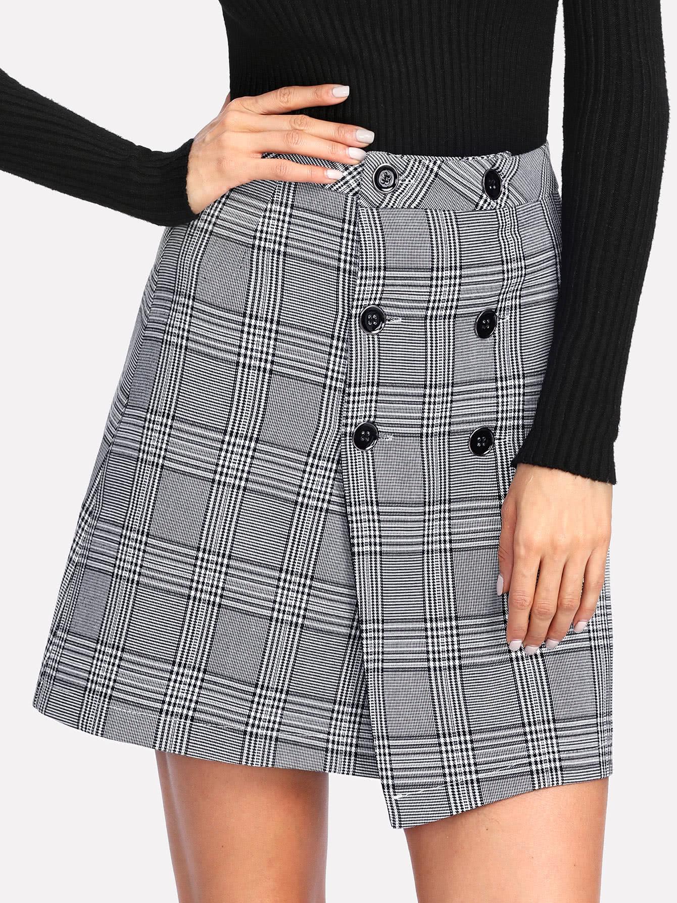 Wales Check Overlap Skirt split front wales check skirt