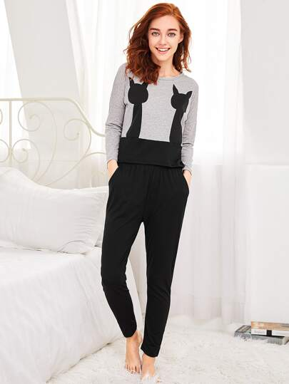 Two Tone Long Pajama Set
