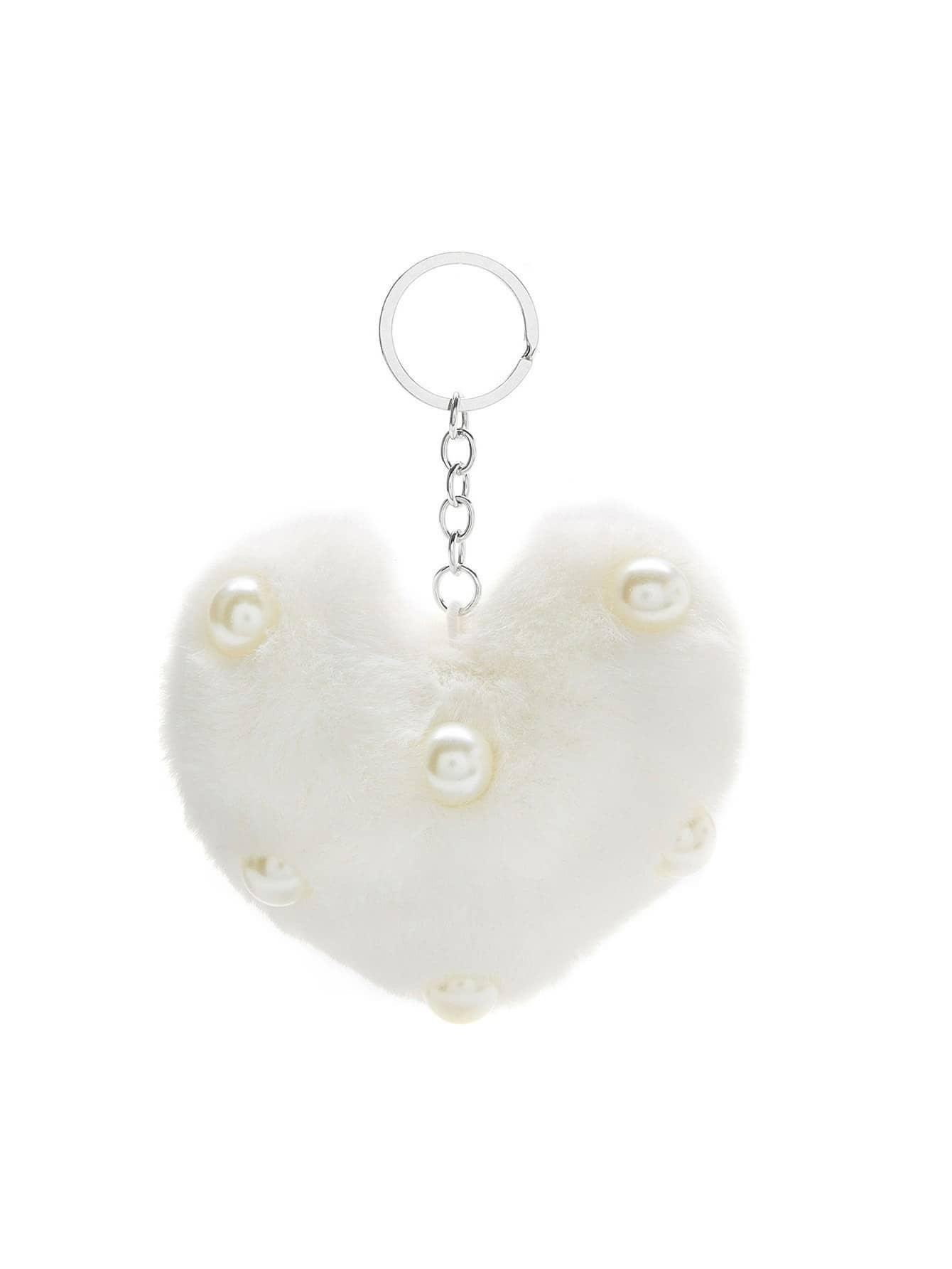 Faux Pearl Detail Heart Keychain faux pearl detail dress