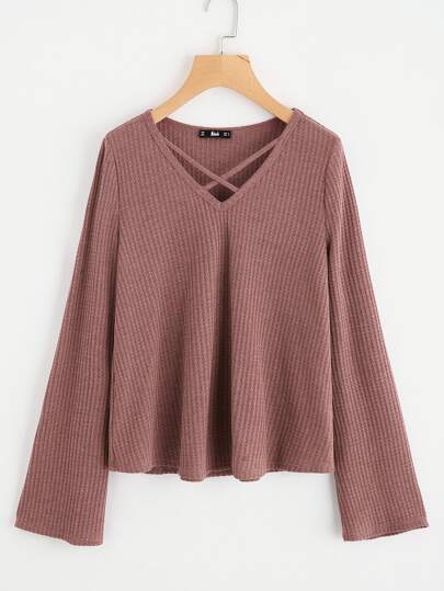 Crisscross Front Textured Knit Top