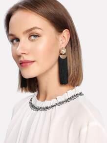 Flower Top Fringe Tassel Drop Earrings 1pair