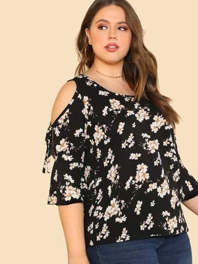 Open Shoulder Ditsy Print Top