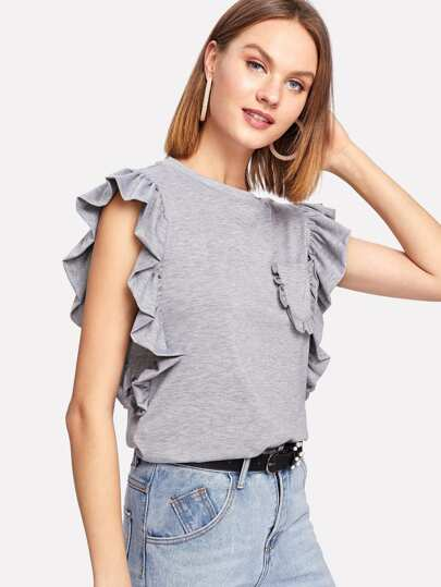Frill Trim Sleeveless Tee
