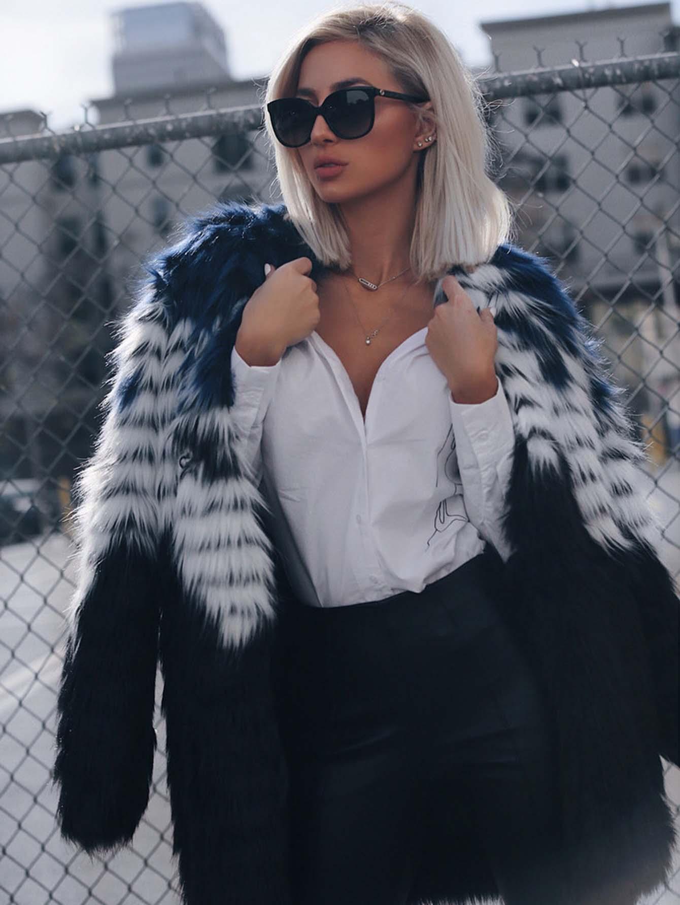 Color Block Faux Fur Open Front Coat grey fashion sleeveless artificial fur open front coat