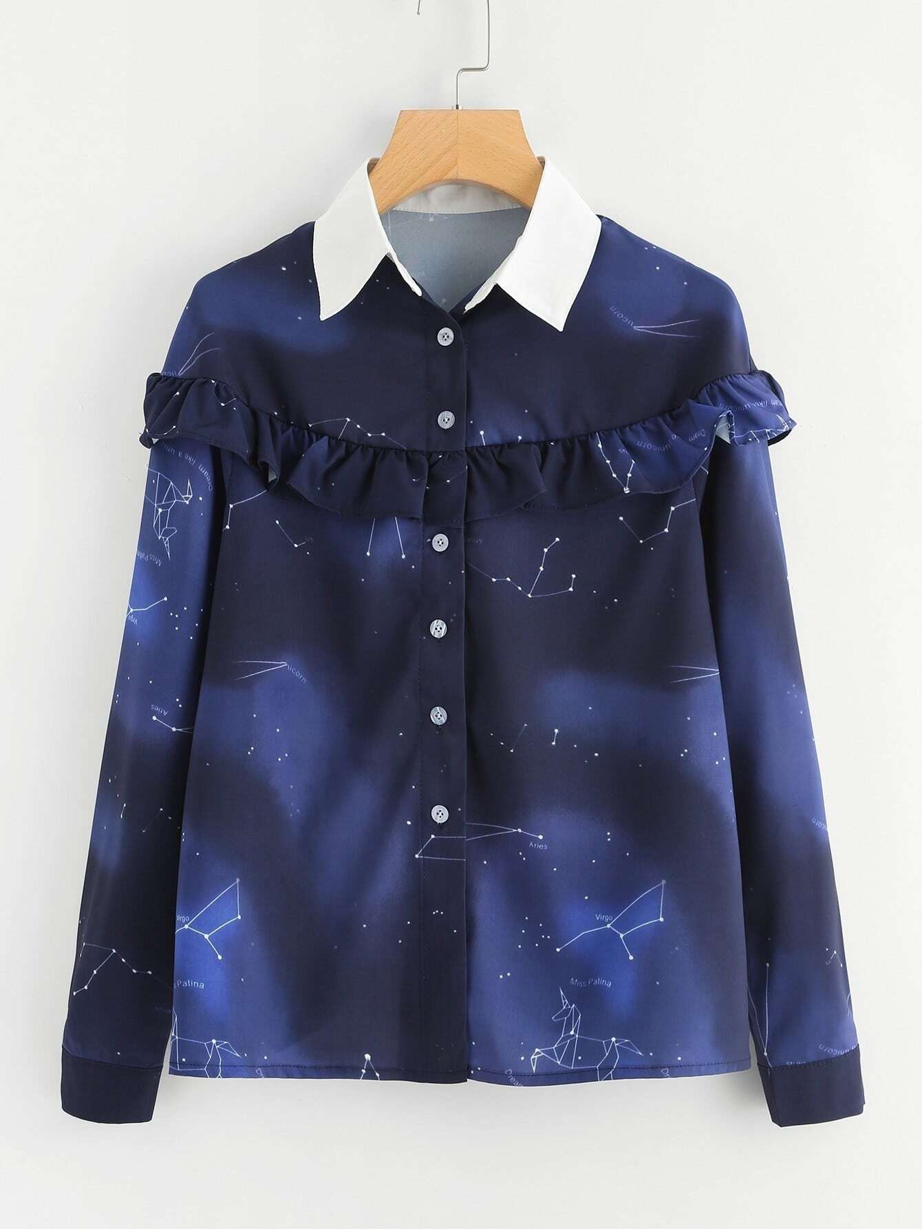 Ruffle Trim Galaxy Print Blouse ruffle trim floral print blouse