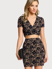 Cross Wrap Flocked Mesh Top & Skirt Co-Ord