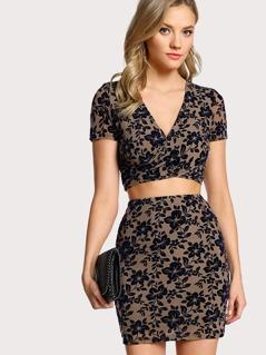 Cross Wrap Flocked Mesh Top & Skirt Co-Ord