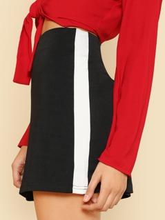 Contrast Panel Side Jersey Skirt