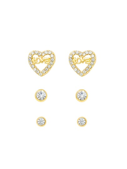 Heart & Round Design Stud Earring Set