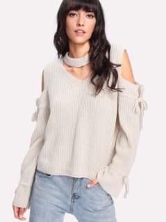 Choker Neck Open Sleeve Sweater