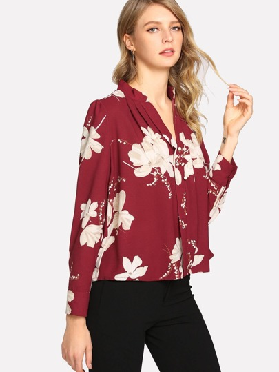 Pleated Button Detail Floral Top