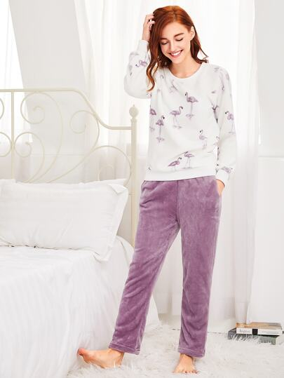 Flamingo Print Plush Pullover & Pants Pj Set