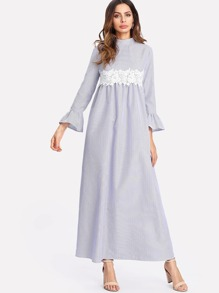 Applique Embellished Waist Flounce Sleeve Dress