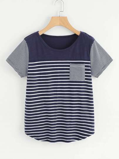 Contrast Panel Striped Tee