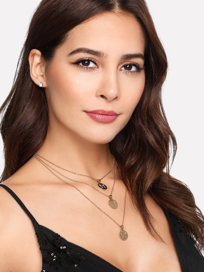 Sequin Pendant Layered Chain Necklace & Stud Earrings Set