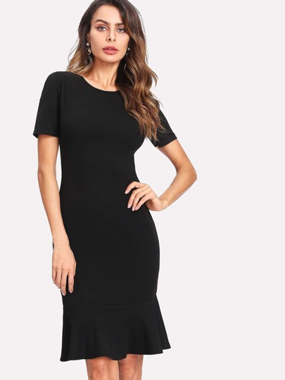 Ruffle Hem Form Fitting Dress