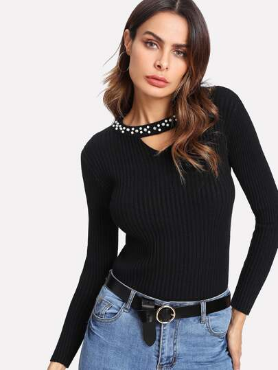 Pearl Beading Cut Out Fitted Jumper