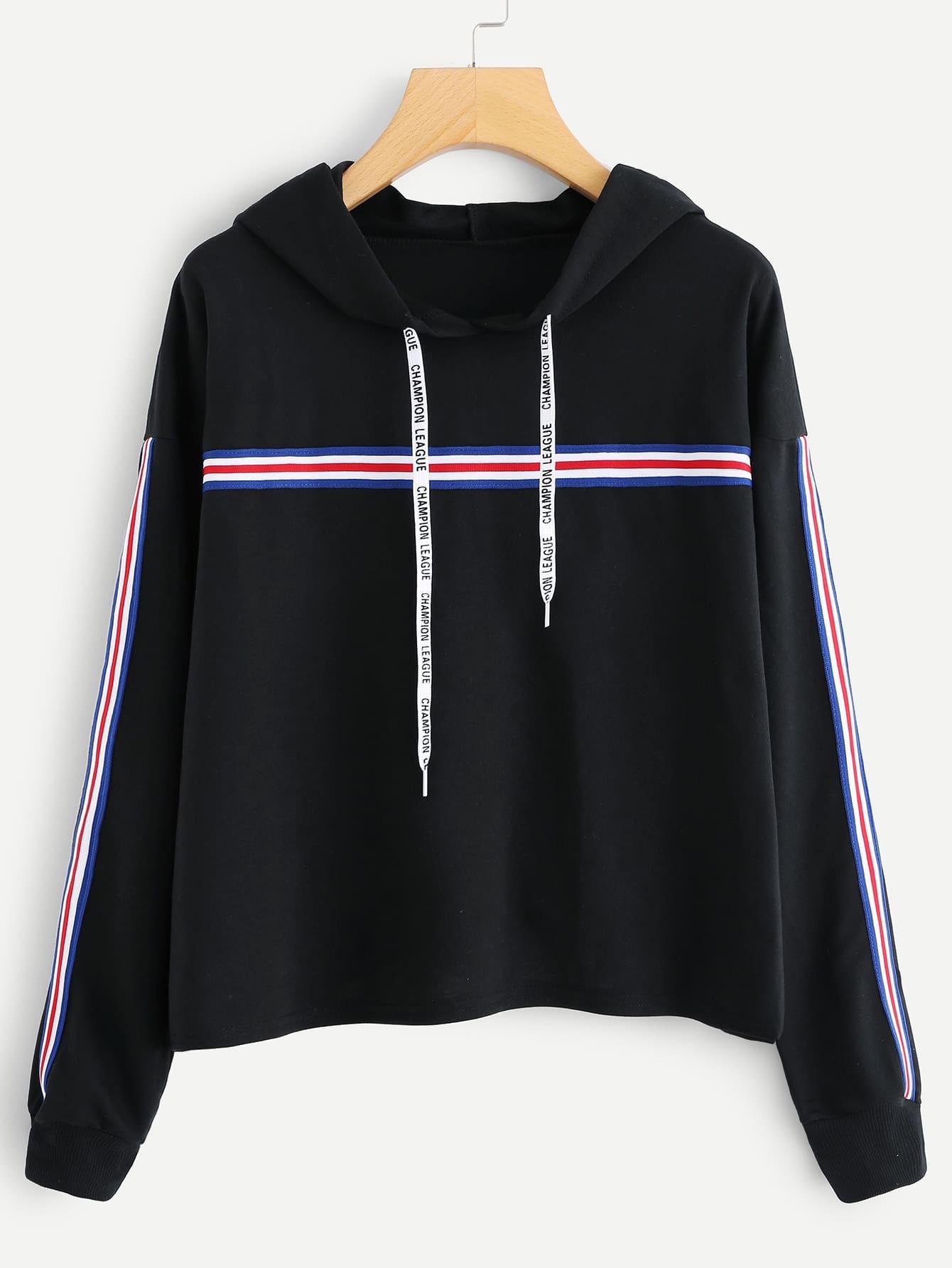 Striped Tape Detail Drop Shoulder Hoodie cropped drop shoulder striped hoodie