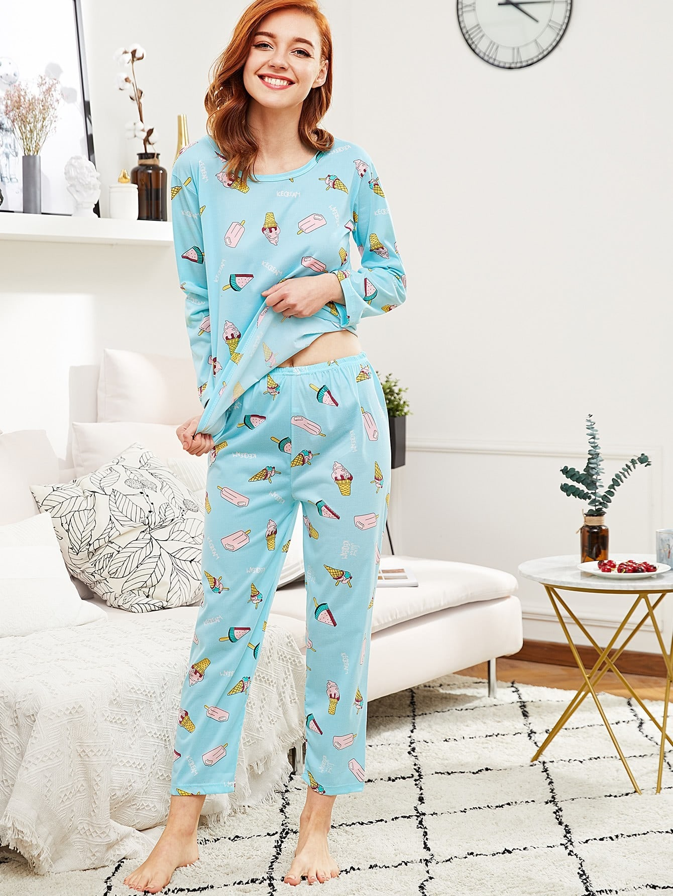 All Over Print Tee & Pants Pj Set