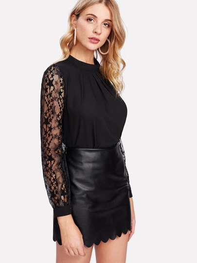 Lace Sleeve Stand Neck Top