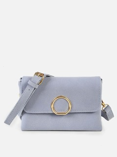 Front Circle Faux Suede Purse BLUE