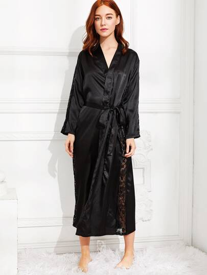 Lace Panel Self Tie Satin Longline Robe