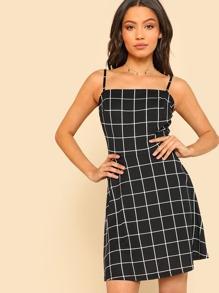 Grid Fit & Flare Cami Dress