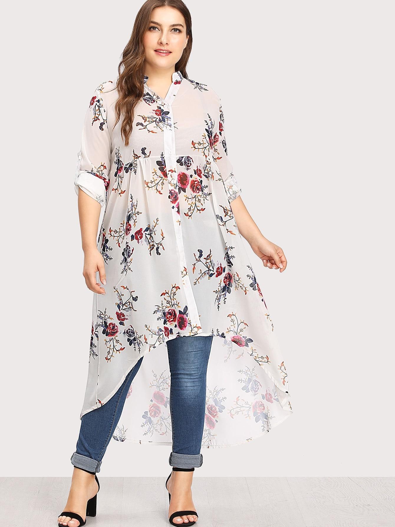 Купить Модная асимметричная блуза с цветочным принтом, Franziska, SheIn