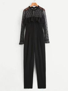 Flounce Detail Mesh Panel Polka Dot Jumpsuit