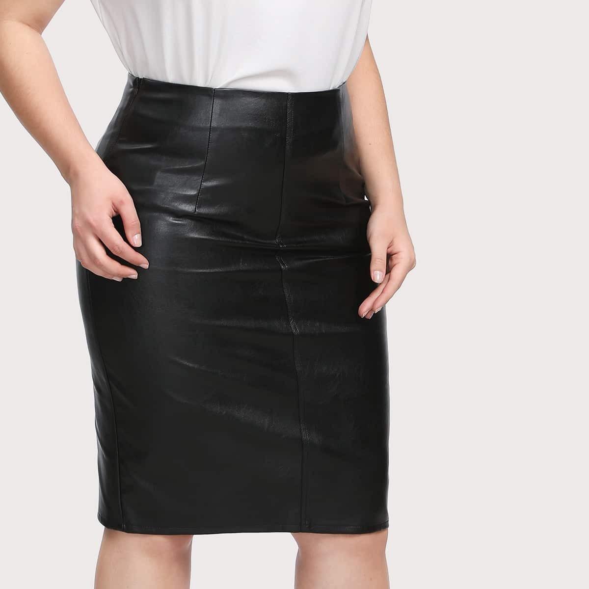 Faux leather kokerrok