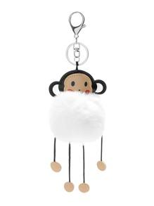Monkey Detail Pom Pom Keychain