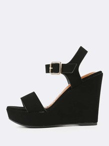 Nubuck Open Toe Ankle Strap Wedge Sandals BLACK