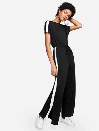 Contrast Panel Side Drawstring Waist Jumpsuit