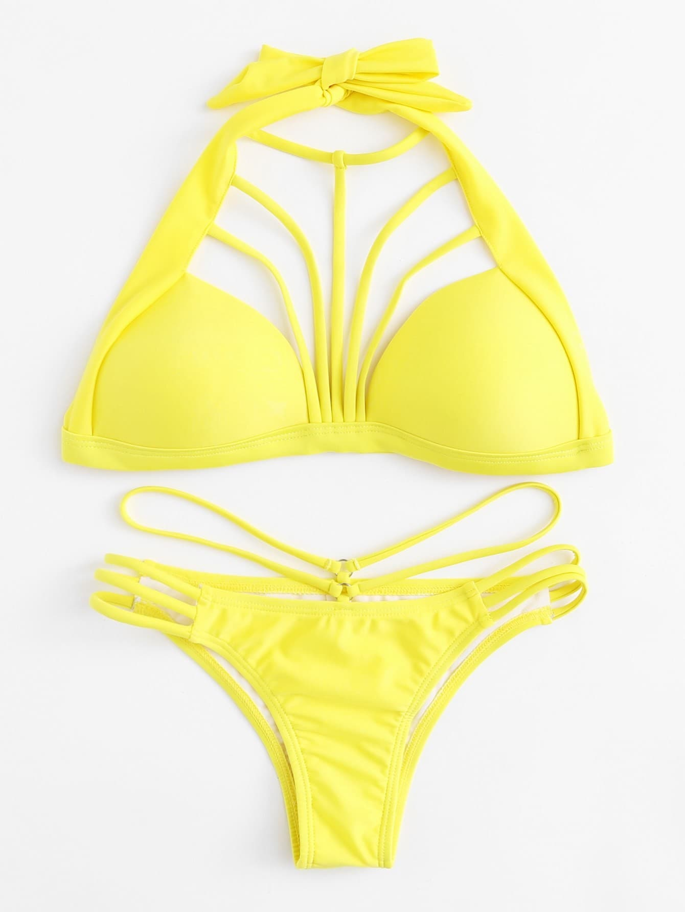 Фото Ladder Cut Out Harness Bikini Set checker knot bikini set
