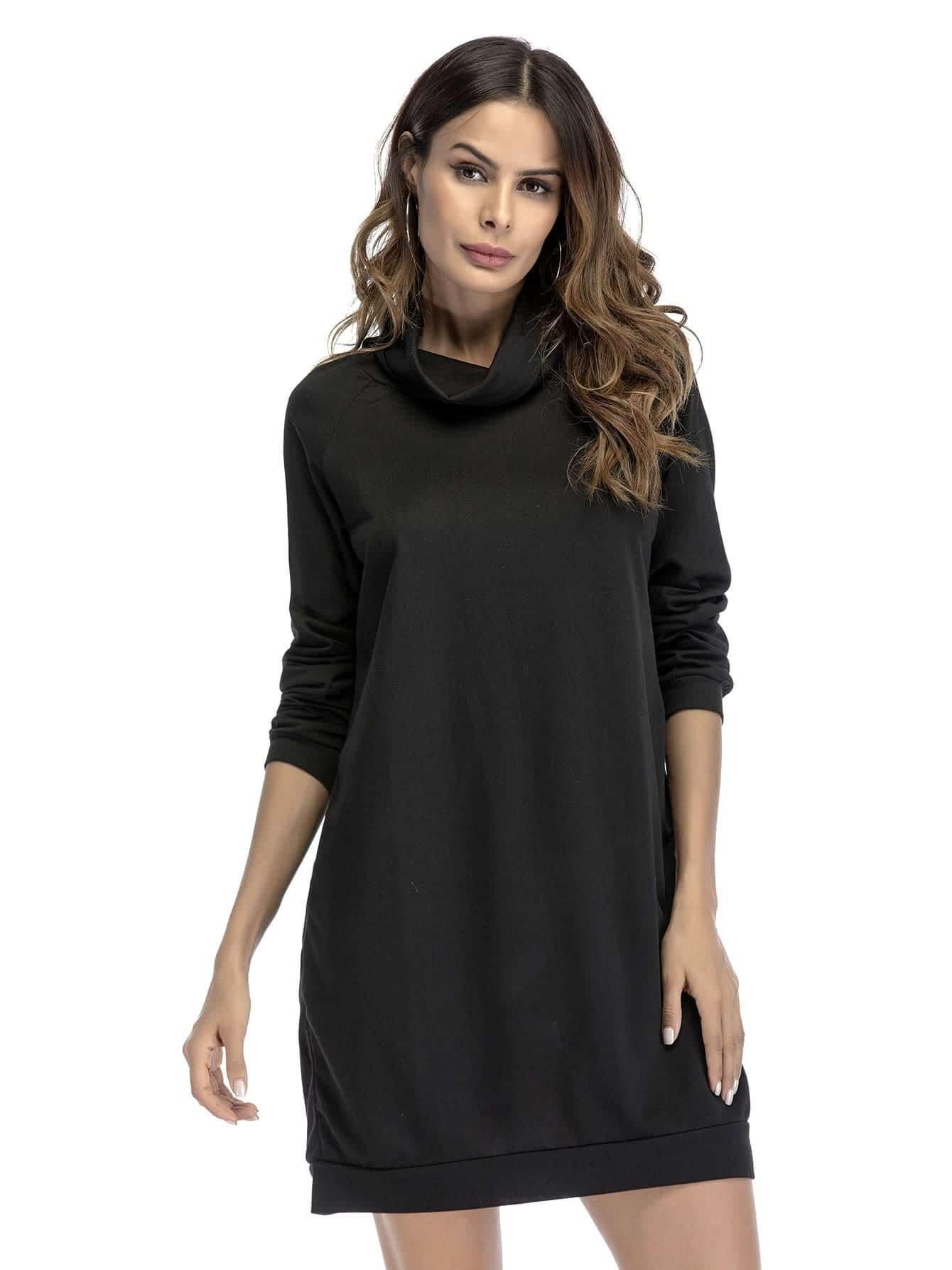 Cowl Neck Raglan Sweatshirt Dress dress171206106