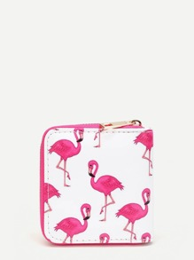 Flamingo Print Zip Around PU Wallet